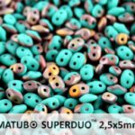 SD-63130-27171 Superduo Matte Opaque Green Turquoise Capri Gold 10 gram-0