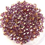 03-MC-00010-14496 Bicone, Crystal Violet Luster, 3 mm. 50 Pc.-0