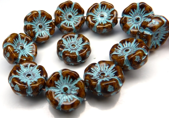 0030085 Opaque Brown Travertin/Turquoise Wax Round Flower Glass Bead 6 Pc.-0