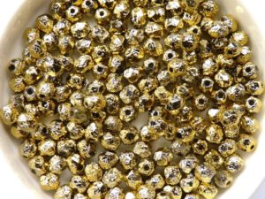 0030191 Crystal Full Brass Etched Facet 4 mm. 50 Pc.-0