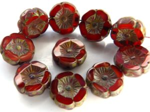 0050066 Opaque Red Melee Travertin Round Flower Table Cut Bead. 6 Pc.-0