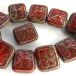 0050076 Opaque Red  Travertin Glass Bead. 8 Pc.-0