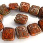 0060016 Opaque Orange Travertin Glass Bead. 8 Pc.-0