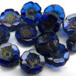 0090009 Sapphire Travertin Round Flower Table Cut Bead. 6 Pc.-0