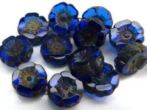 0090009 Sapphire Travertin Round Flower Table Cut Bead. 6 Pc.-0