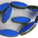 0090026 Opaque Sapphire Travertin Table Cut Bead. 6 Pc.-0