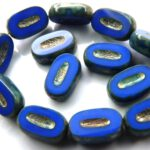0090039 Opaque Sapphire Silver Travertin Table Cut Bead. 10 Pc.-0