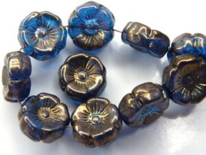 0090259 Dark Aqua Vega Luster Round Flower Bead. 12 Pc.-0