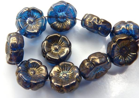 0090259 Dark Aqua Vega Luster Round Flower Bead. 12 Pc.-0