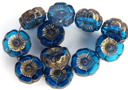 0090260 Dark Aqua Vega Luster Round Flower Table Cut Bead. 6 Pc.-0
