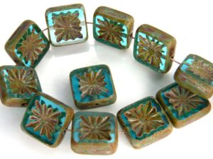 0090261 Aquamarine Mat Travertin Table Cut Bead. 6 Pc.-0