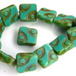 0100044 Opaque Green Turquoise Travertin Square Table Cut Bead. 5 Pc.-0