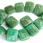 0100058 Opaque Green Turquoise Travertin Glass Bead. 10 Pc.-0