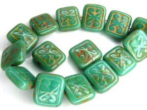 0100058 Opaque Green Turquoise Travertin Glass Bead. 10 Pc.-0