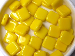 0130016 Opaque Yellow square Bead. 30 Pc.-0