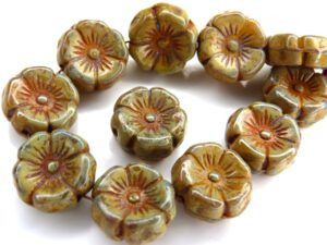0130029 Jonquile/Albaster Travertin Round Flower Bead. 12 Pc.-0