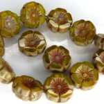 0130030 Jonquil Alabaster Mix Travertin Round Flower Table Cut Bead. 6 Pc.-0