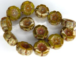 0130030 Jonquil Alabaster Mix Travertin Round Flower Table Cut Bead. 6 Pc.-0