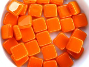 0060014 Opaque Orange square Bead. 30 Pc.-0