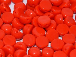 2HC-6-93180 2-Hole Cabochon Opaque Red 25 Pc.-0