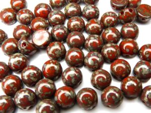 2HC-6-93180-43400 2-Hole Cabochon Opaque Red Picasso 25 Pc.-0