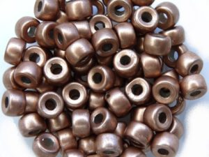 0030050 Silky Light Brown Roller Bead. 30 Pc.-0