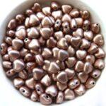 0030051 Silky Light Brown Heart Bead. 30 Pc.-0