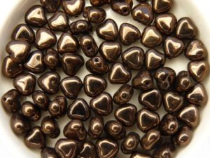 0030096 Jet Dark Bronze Heart Bead. 30 Pc.-0