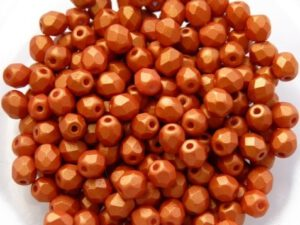 0030187 Gold Shine Orange facet 4 mm. 50 Pc.-0