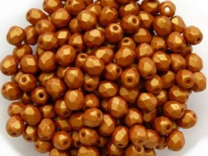0030188 Gold Shine Brownish Red facet 4 mm. 50 Pc.-0