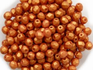 0030189 Gold Shine Brick Red facet 4 mm. 50 Pc.-0