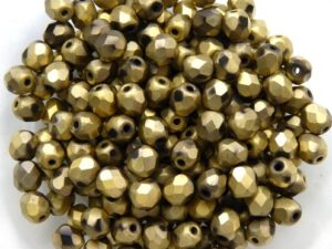 0030293 Jet Full Dorado Matt facet 4 mm. 50 Pc.-0