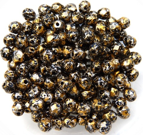 0030308 Jet Tweedy Gold Facet 4 mm. 50 Pc.-0