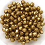 0030313 Jet Gold Bronze Mat facet 4 mm. 50 Pc.-0