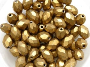 0030314 Metallic Suede Gold Oval facet 8 x 6 mm. 15 Pc.-0