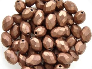 0030315 Metallic Suede Light Brown Oval facet 8 x 6 mm. 15 Pc.-0