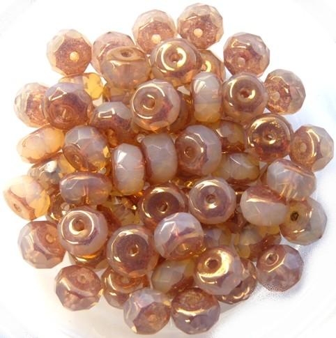 0040212 Opal Beige Copper Donut Facet 6 x 4 mm. 18 Pc.-0