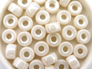 0140075 Chalk White Shimmer, Roller Bead 20 Pc.-0