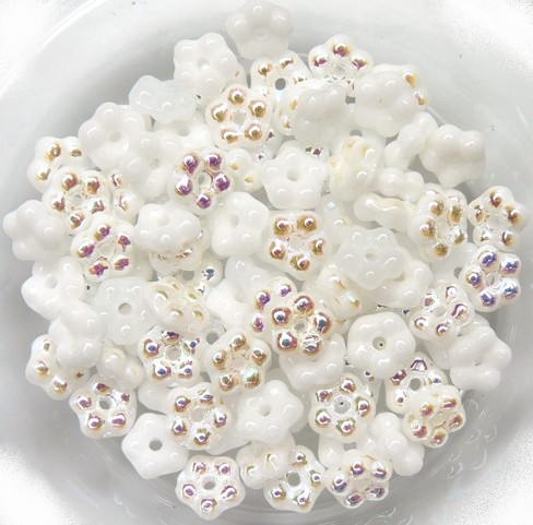 FN-02010-28701 Alabaster White AB Forget-Me-Not Beads 50 Pc.-0
