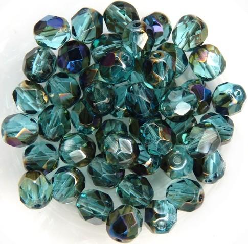 0090330 Aquamarine - Blue Iris facet, 6 mm. 25 Pc.-0