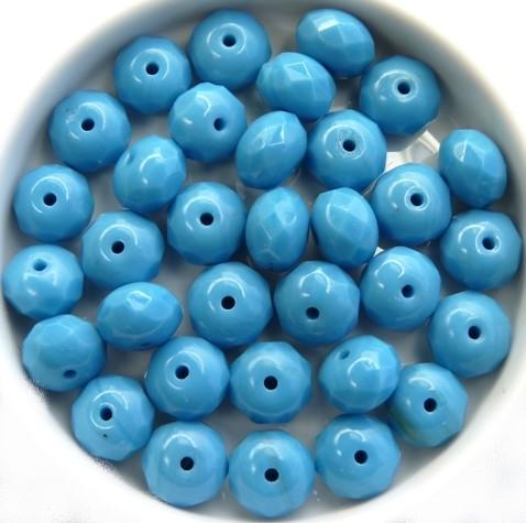 0090346 Opaque Darker Blue Turquoise Rondelle 6 x 9 mm. 10 stuks-0