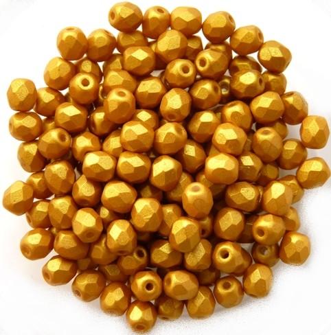 0130128 Gold Shine Yellow Sun facet 4 mm. 50 Pc.-0