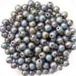 04-R-02010-65431 White Alabaster Green Blue Lazura Luster, Round 4 mm. 100 Pc.-0