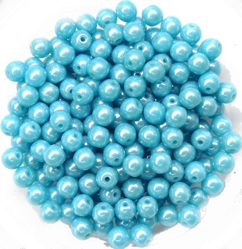 04-R-63030-14400 Lustered Opaque Blue Turquoise, Round 4 mm. 100 Pc.-0