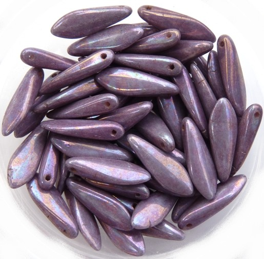 0080215 White Alabaster Purple Iris Dagger Bead 14 Pc.-0