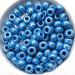 PR-1-0-33210-14400 Preciosa Opaque Blue Hematite Lustered 1/0 Rocaille ± 25 gram.-0