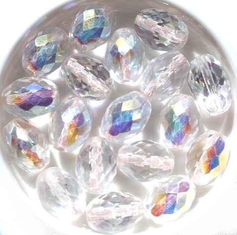 0150114 Crystal AB Oval facet. 13 x 10 mm. 6 Pc-0