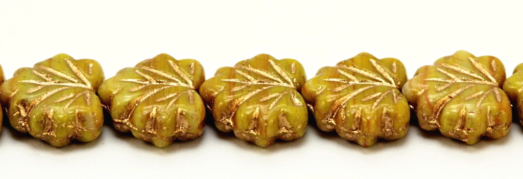 MPL-99992-54202 Opaque Light Green with Golden Inlay Maple Leaf 15 Pc..-0