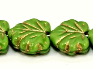 MPL-54010-54202 Green Silk with Golden Inlay Maple Leaf 15 Pc.-0