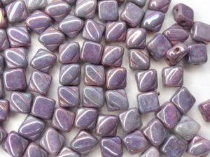 SL-03000-15781 Silky Bead, Opaque White Purple Iris 30 Pc.-0